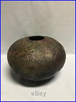 Tony Evans Studio Brutalist Raku Pottery Volcanic Glaze Large Pot / Vase #221