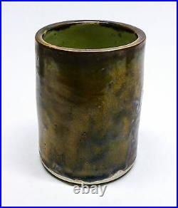 Toyoharu Ichino Studio Pottery Tenmoku Glaze Vase or Brush Pot Japanese (C3)