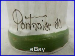 Unique Gilbert Portanier studio pottery vase / signed / 1980 / Seltene Vase