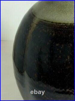 Unique PETER SWANSON Studio Pottery Stoneware Tenmoku Glaze Bottle Vase British