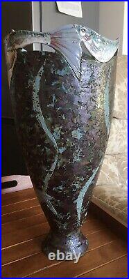 Unique Pottery Vase By Roger Cockram Pike Chasing Fish Beautiful Unusual Glaze