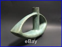 VINTAGE Asymmetrical TURQUOISE Green TOYO POTTERY Vase JAPAN Modernist MCM 1960s