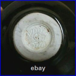 VIVIKA & OTTO HEINO Signed Studio Art Pottery Tenmoku 5 Weed Pot Moon Vase