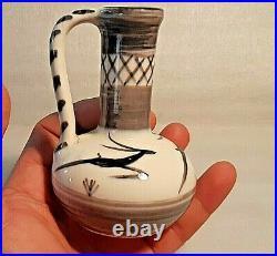 Very Rare Vtg Lapid Israel Ceramic Pottery Vase Eilot Gazelle Deer 50's