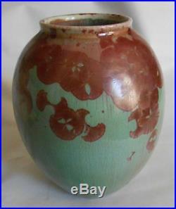 Vintage 1983 Linda Brendler Crystalline Pottery Pinks Greens Vase