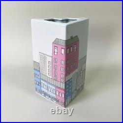 Vintage 80s MCM Thomas Ceramic Cityscape Zig-Zag Vase German Memphis Postmodern