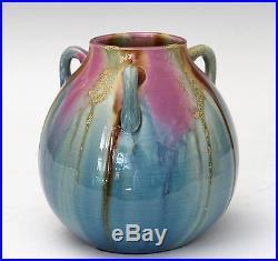 Vintage Awaji Art Studio Japanese Pottery Deco Flambe Hand Turned Drip Vase