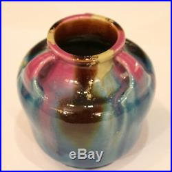 Vintage Awaji Pottery Art Deco Studio Japanese Flambe Turned Drip Vase Signed
