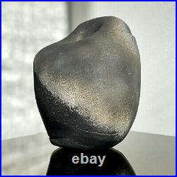 Vintage Brutalist Raku Stoneware Vessel by Geraldine Shapiro (ca. 1970)
