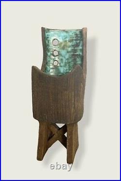 Vintage Clive Brooker'Ikbana' Textured Studio Pottery Footed Vase Modernist