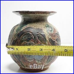 Vintage DAVID STEWART Pottery Vase SIGNED Carved Bird Leaf Apple Studio Pottery