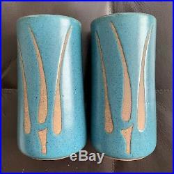 Vintage Gordon/Jane MARTZ Pottery Studio Stoneware Incised Blue Vases Pair Lamp