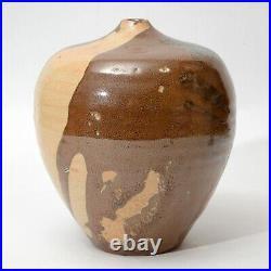 Vintage Japanese Studio Pottery Large Tsubo Vase w Wabi Sabi drip glaze stamped