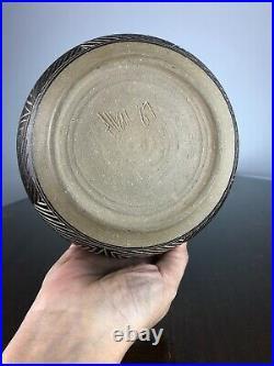 Vintage Kenneth Allen Studio Pottery Ashville NC Sgraffito Bowl 1987 Signed