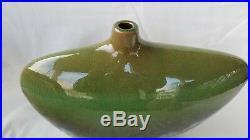 Vintage Large Modernist Green/Blue Crackle Drip Glaze Studio Pottery Vase