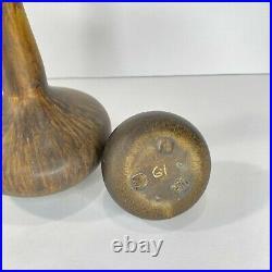 Vintage Maigon Daga MCM Art Pottery Bud Vases Set of 2 Brown Mottled Glaze