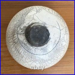 Vintage Matte White Crackle Glaze Raku Vessel (Signed)