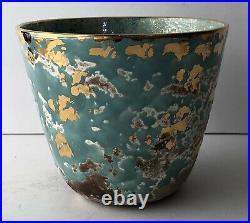 Vintage Mid Century Modern Art Pottery Glazed Planter Vase Teal Gold Signed