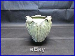 Vintage Rare Pottery Ephraim Rolled Leaf Green Vase