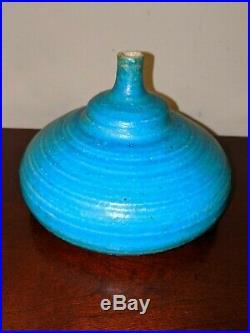 Vintage STEPHEN POLCHERT studio art pottery vessel vase blue 1950's MCM Nebraska