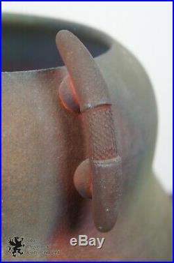 Vintage Signed Raku Handled Vase Urn Studio Pottery Iridescent Sculpture 11