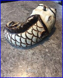 Vintage Studio Art Pottery Japanese KOI Fish Vase Asian Figure rare MCM