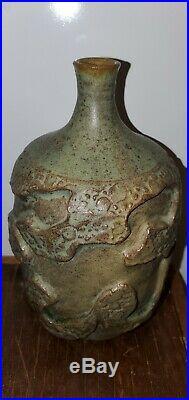 Vintage Studio Pottery Bud Vase Signed Green Glaze