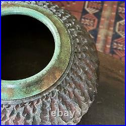 Vintage Textured Copper Glazed Raku Vessel with Copper Glazed Rim (Signed)
