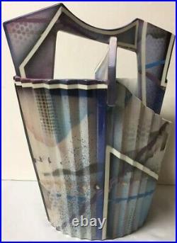 Vtg Ceramic Pottery Memphis Style Basket Vase Geometric, Signed TOM HUBERT