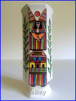 Vtg MID Century Modern El Salvador Art Pottery Hand Painted Signed Angel Vase