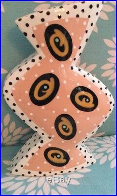 Vtg Rita Duvall Signed 1996 Postmodern Art Deco Symmetrical Pottery Vase Rare