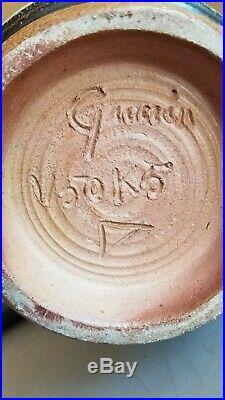Vtg Roger Guerin (German/Belgium) Studio Pottery 3-Handle 20 Floor Vase Signed