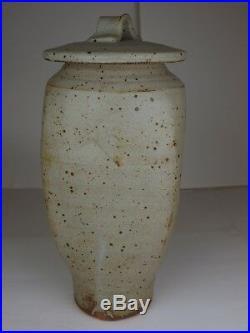 Warren MacKenzie Pottery Studio Handmade Stamped grey tall Vase with lid