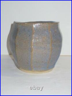 Warren Mackenzie Faceted Light Blue Pottery Vase, Stamped From Private Coll