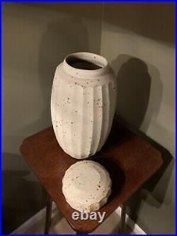Warren Mackenzie Fluted Cut Oatmeal Glazed Lidded Vase 13.5 High