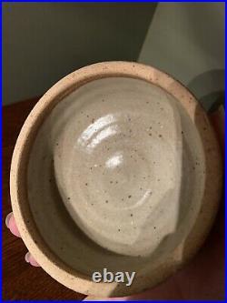 Warren Mackenzie Lidded Bowl 4.5 Wide X 4.5 High Oatmeal Shino Glaze Mingei