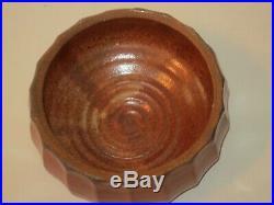 Warren Mackenzie Stamped Large Shino Glaze Faceted Lidded Jar