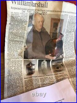 William'bill' Marshall Leach Pottery Stoneware Vase Tenmoku Glaze Signed