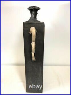 Yvonne Signed Large 5 Finger Spout Vase/Jug Studio Pottery Carved Earthenware