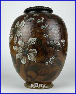 -martin Brothers- Signed 1889 Studio Pottery Grotesque Brown Flower Ovoid Vase